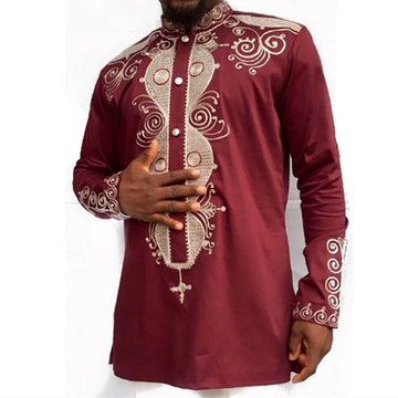 Langärmeliges afrikanisches Herren Button-Down-Shirt