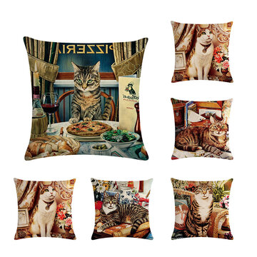 Cute Cat Printed Cat Cushion Cover Cotton Linen Throw Pillow Home Sofa Decoration Decorative Pillowcase
