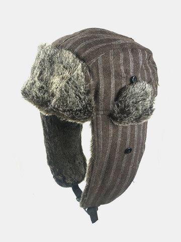 Men Striped Pattern Cold-proof Winter Trapper Hat