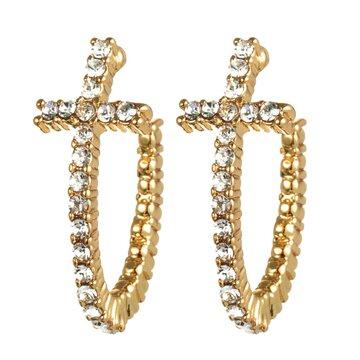 Curved Cross Stud Earrings