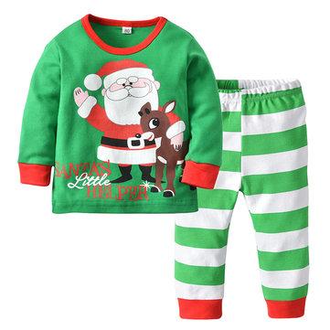 2Pcs Pijama De Papai Noel Definido Para 1Y-7Y