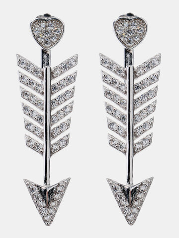 Orecchini lucidi alla moda con freccia in argento 925