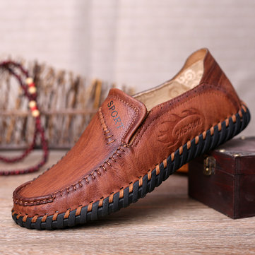 Men Hand Stitching Soft Loafers