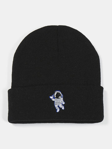 Men & Women Wool Astronaut Printing Knitted Beanie Hat