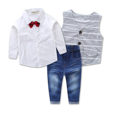 3Pcs Boys Shirt Coat Jeans Sets 1Y-9Y