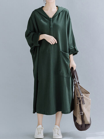 Casual Bat Sleeve Hooded Sweatshirt Dress