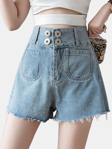 Denim Shorts Female High Waist Was Wide Leg Hot Pants