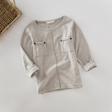Boys Long Sleeve Pockets Tops For 2Y-9Y