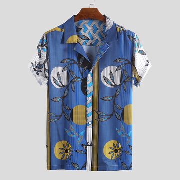Mens Summer Funny Hit Farbe Floral bedruckte Shirts