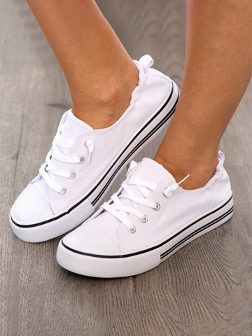 Canvas Wrinkle Ankle White Flat Sneakers