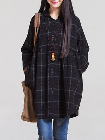 Autumn Casual Loose Plaid Lapel Collar Button Long Blouse For Women