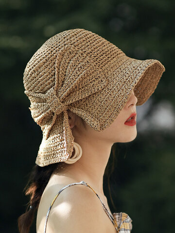 Foldable Bowknot Decoration Casual Breathable Small Brim Straw Hat