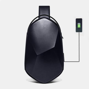 Poliedro de carga USB antirrobo Oxford Impermeable al aire libre Bandolera Bolsa Pecho Bolsa Sling Bolsa
