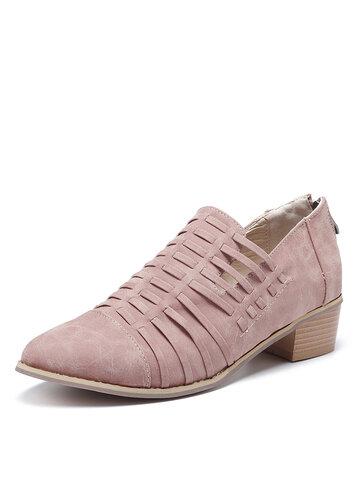 Zapatos de tacón cuadrado con punta en punta