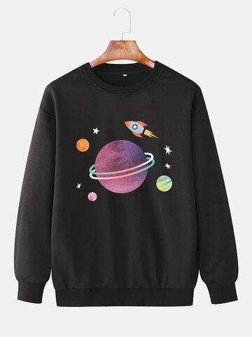 Cartoon Planet & Rocket Print Sweatshirts