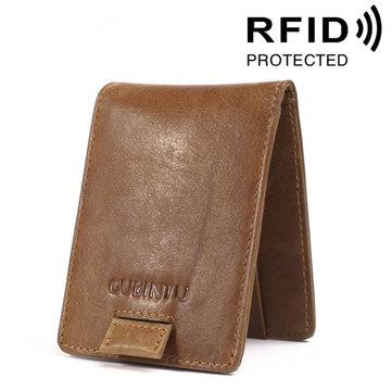 RFID Cartera antimagnética de cuero genuino con ranuras de tarjeta