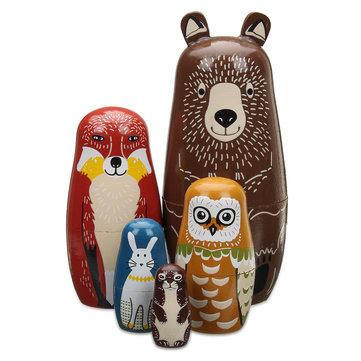 5 muñecas rusas de madera anidadas