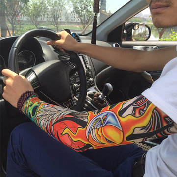 Men Cool Tattoo Sleeve Arm Sunscreen Leg Warmer Long Cuff Armguard Riding Tattoo Sticker