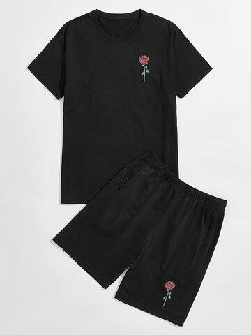 100% Cotton Rose Print Basic Set