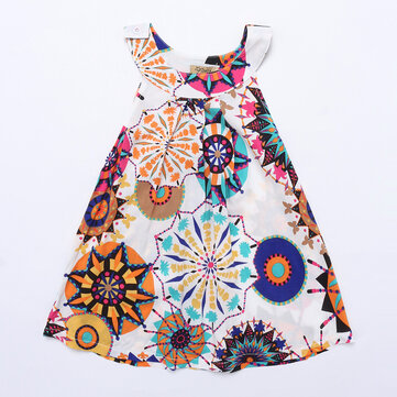 Bohemian Girls Casual Dress For 3-11Y