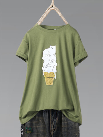 Print Cat Ice Cream T-shirts