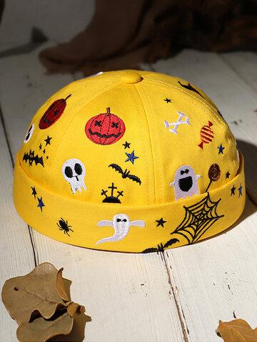 COLLROWN Men & Damen Halloween Style Pattern Krempe Beanie Landlord Cap Skull Cap