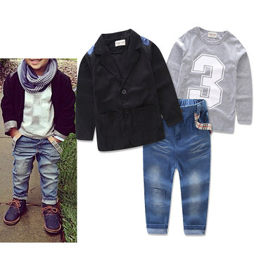 3pcs Jungen T-Shirt Mantel Jeans Sets 2Y-11Y