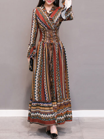Bohemian Women Printed V-neck Maxi Dresses