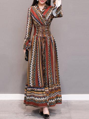 Maxi vestiti con scollo a V stampati da donna bohemien
