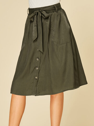 Solid Color Button Waistband Skirt