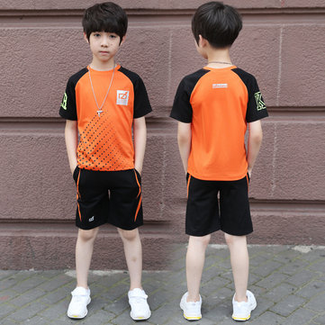 Boy Short-sleeved Thin Sleeves Letter Sports Suit