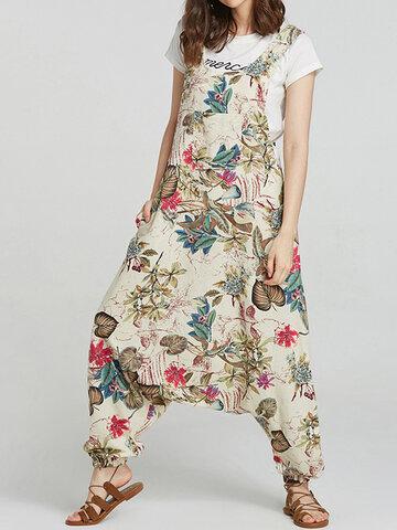 Floral Print Drop-crotch Jumpsuit