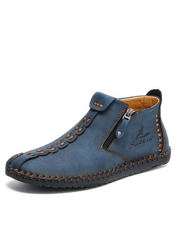 Salkin Men Side Zipper Ankle Boots