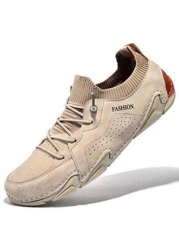 Zapatos de conducción de calcetines de punto con costura a mano de cuero de piel de cerdo para hombres