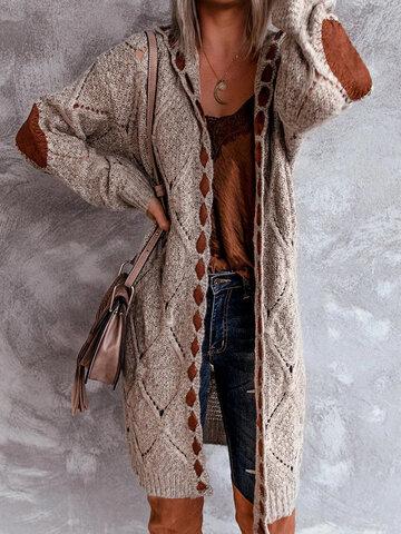 Long Sleeve Hooded Knit Cardigan