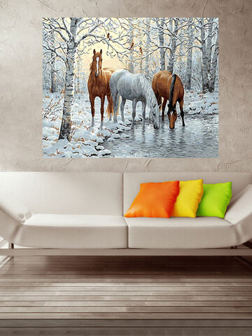 Horses in the Ice Forest DIY Painting