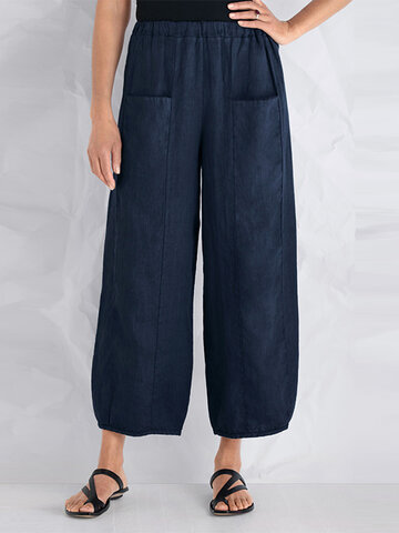 Vintage Pockets Wide Leg Pants