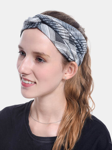 Plaid Leaf Cross Headband