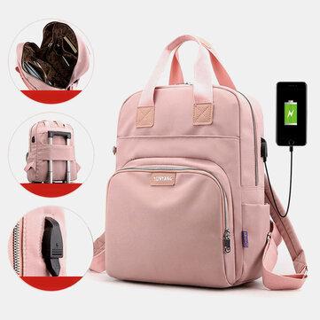 Casual Multifunction USB Charging Solid School Bag