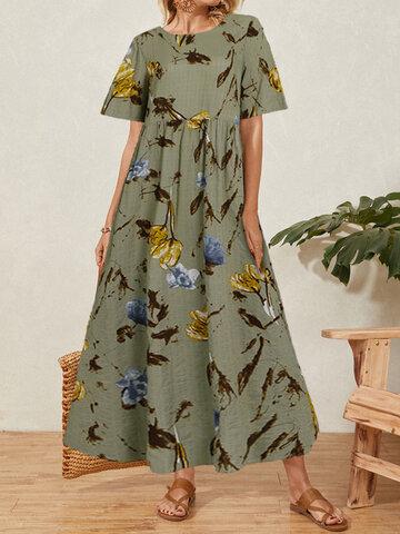 Vintage Calico Print Maxi Dress