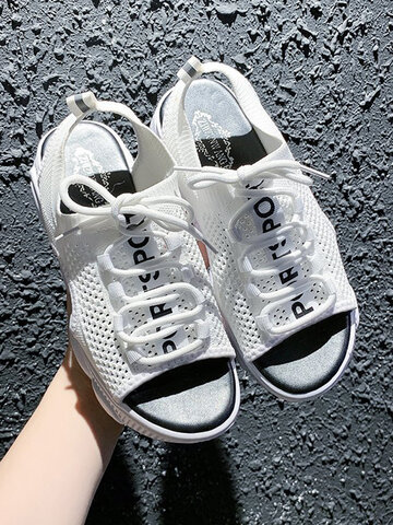 Lace-up Soft Breathable Knitted Fabric Platform Sports Sandals