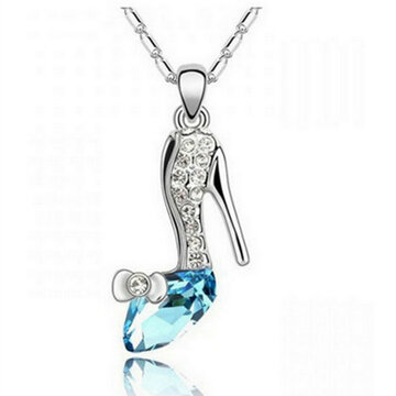 Crystal Cinderella Glass Slipper Pendant Necklace