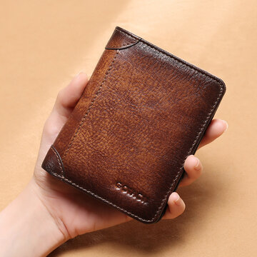 Genuine Leather RFID Anti-theft Retro Large Capacity Foldable Card Holder Wallet