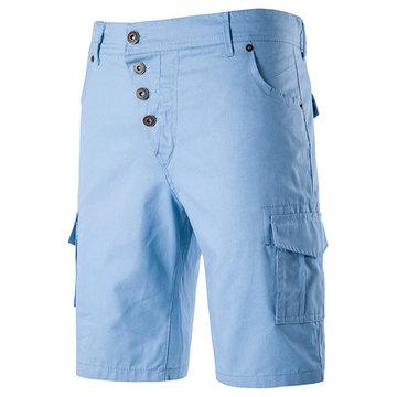 Short cargo décontracté en couleur pure à taille haute à genou-longueur pour homme