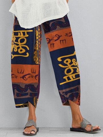 Print Vintage Elastic Waist Plus Size Pants for Women