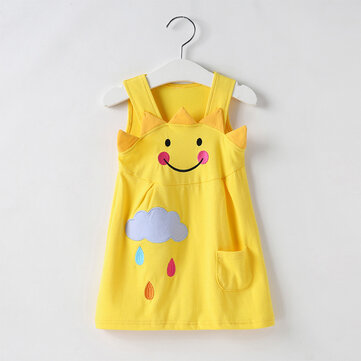 Girls Cute Sling Sun Print Kleid Für 2-9Y