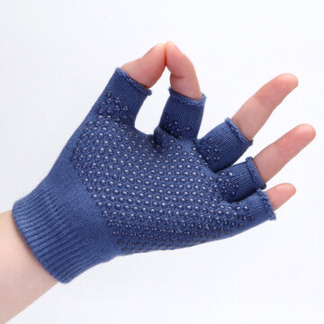 Cotton Plain Slip-Proof Half Finger Gloves
