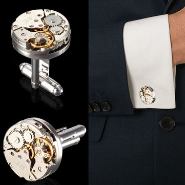 Men Watch Pattern Cufflinks Mechanical Bare Wedding Gift Suit Shirt Accessories