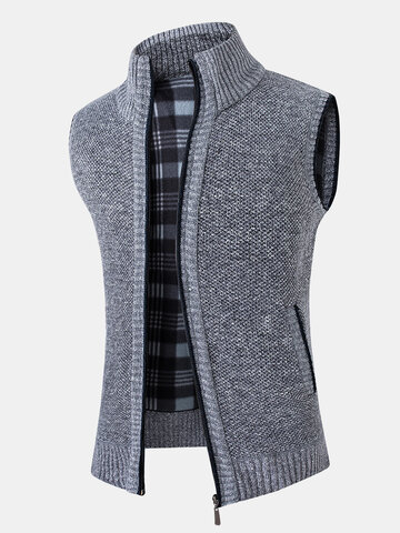 Zip Up Stand Collar Knit Vests
