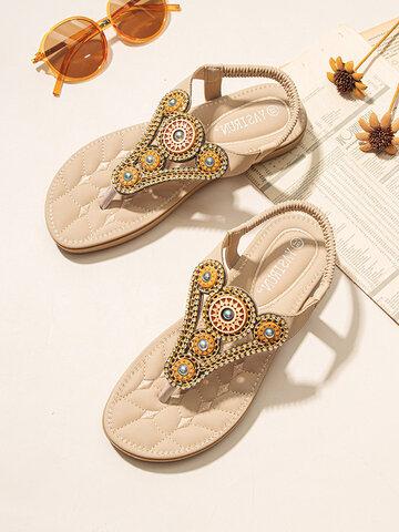 Summer Bohemian Crystals Beach Sandals